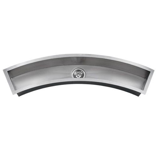 Troff Sinks Undermount Curved Trough Stainless Steel Kitchen Prep Sink 16g Tr3300 For