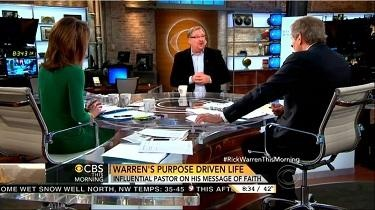Norah O'Donnell, CBS News Anchor; Rick Warren, Senior Pastor, Saddleback Church; & Charlie Rose, CBS News Anchor; Screen Cap From 27 November 2012 Edition of CBS This Morning | NewsBusters.org