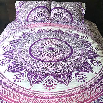 This vibrant pink and purple duvet cover and 2 matching pillowcases add energy and style to any room. Double-sided. Duvet cover zips shut. Pillowcases are double sided and design may vary. 100% cotton