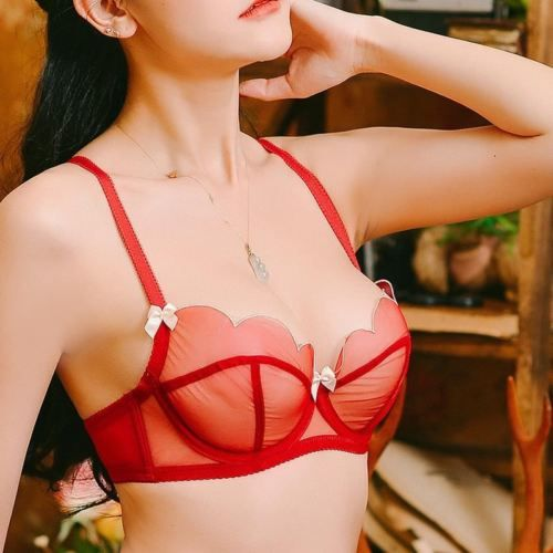 Ultra-thin and comfortable sexy mesh underwear bra set wedding gather a steel ri