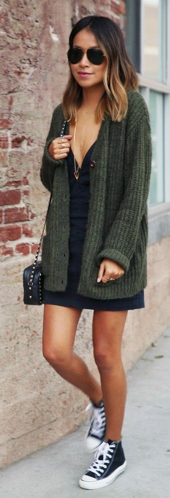 Olive Knit Cardigan , Little Dress with Layer Bunch Necklace | Street chic - perfect!