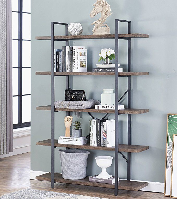O K Furniture 5 Tier Industrial Style Bookshelf Wood And Metal