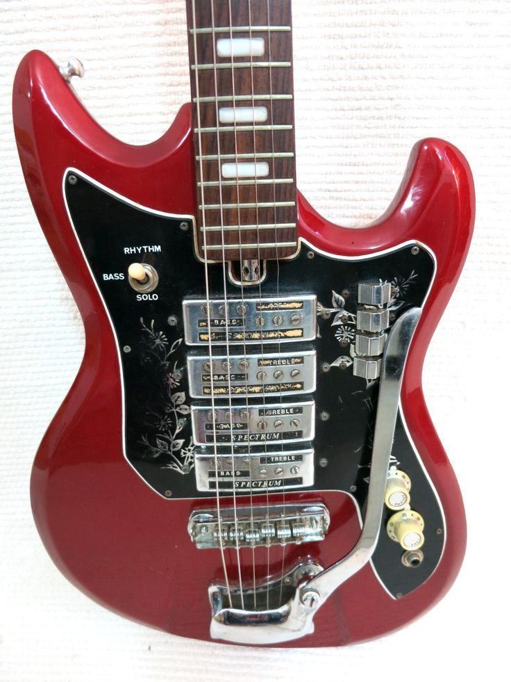 Vintage 1960s Red Teisco Del Ray Spectrum Guitar 4 Pickups