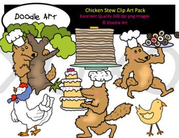 """This """"Chicken Stew"""" Clipart collection includes all the images shown in the sample picture and more. This grouping is a parody of the book The Wolf's Chicken Stew. They are adorable! This pack includes 32 different clips:  * Black line masters of all clips * Wolf (many poses) * Hen * Chicks * Cake * Pancakes * Donuts * etc."""