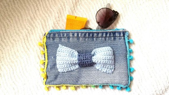Denim pouch/wallet/ tool case /handmade/bow/ by KaterinakiJewelry
