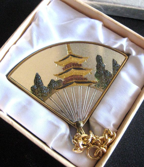 Vintage YKK Asian Fan Mirror Compact with Pagoda