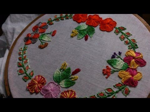 Hand embroidery- Net stitch flowers,closed fly stitch leaves-leishas galaxy…