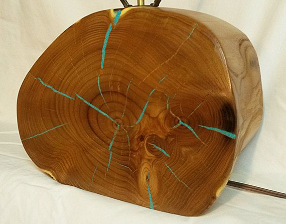 Southwestern table lamp with Turquoise inlay. One of a kind! Made from reclaimed Russian Olive wood.