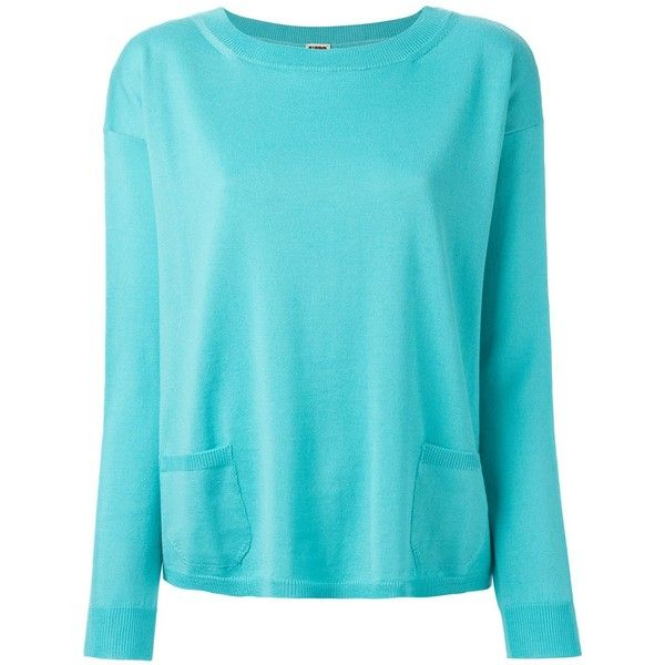 I'M Isola Marras Front Pocket Sweater ($200) ❤ liked on Polyvore featuring tops, sweaters, blue, blue top, blue sweater и i'm isola marras