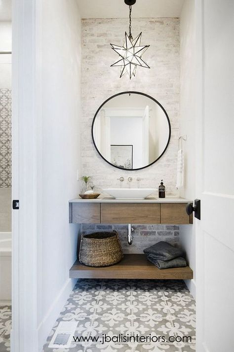 Farmhouse Bathroom With Freestanding Vanity Cement Tile And Painted