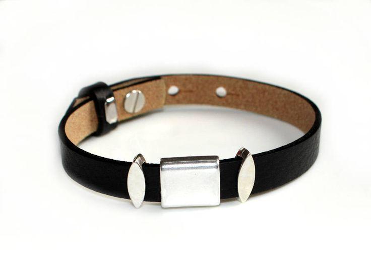 Lederarmband Armband Leder 10mm schwarz silber Slider Herren Damen Schmuck Geschenk Weihnachten Geburtstag für Männer Frauen für Ihn Sie von CreativeWithHeart auf Etsy