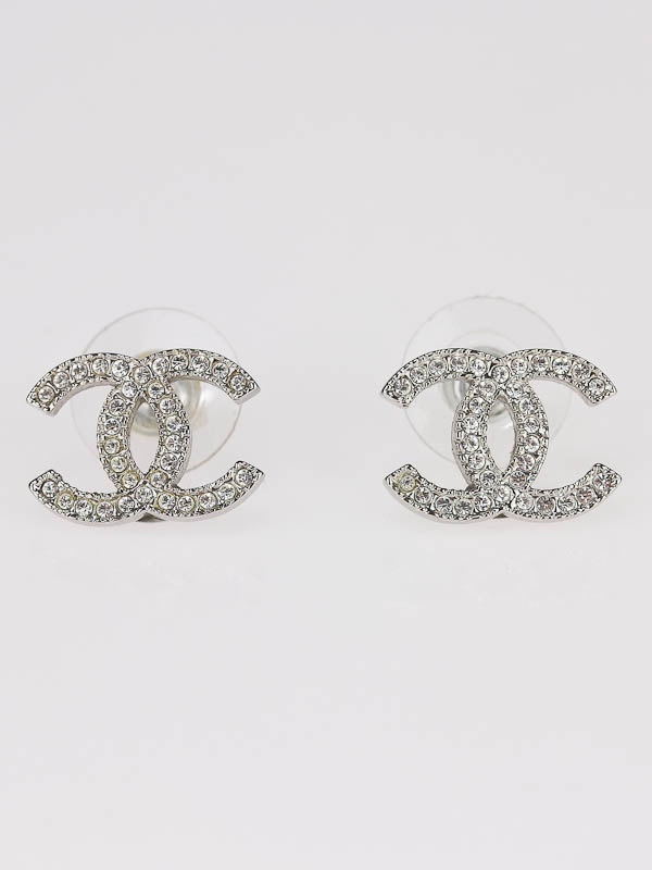 Chanel Classic Swarovski Crystal Cc Logo Earrings Logos