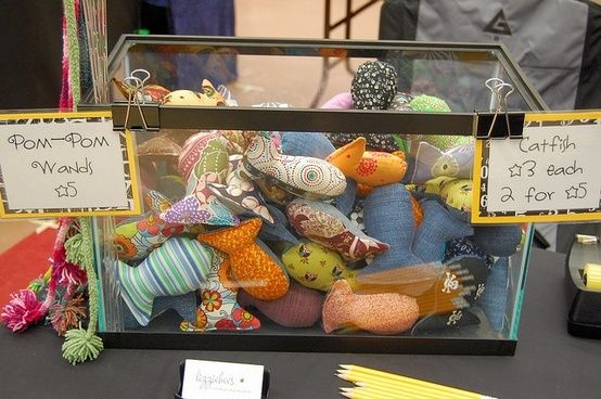 Stash catnip fishies in a fish tank... of course! {craft booth setup} by danielle