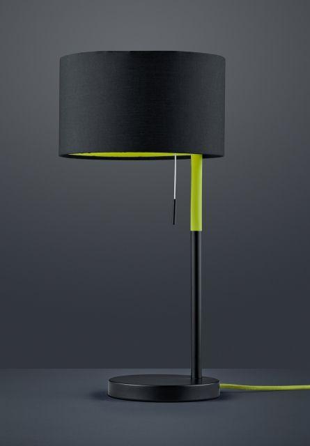 LANDOR Trio - stolová lampa - čierno-zelený kov+textil