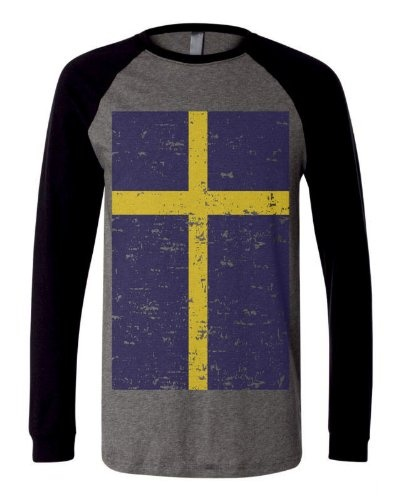 Swedish Big Flag Sweden Distressed Football Soccer Patriotic Pride Mens Size Long Sleeve Baseball T-shirt Tee (Small, BLACK)