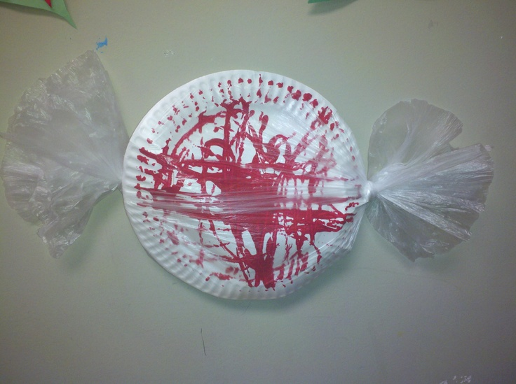 peppermint candy preschool craft paperplate paint marbles andplastic wrap