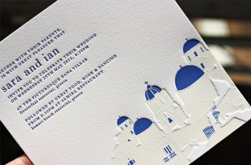 Invitations for a wedding in Greece... we love the shades of blue and crisp white!