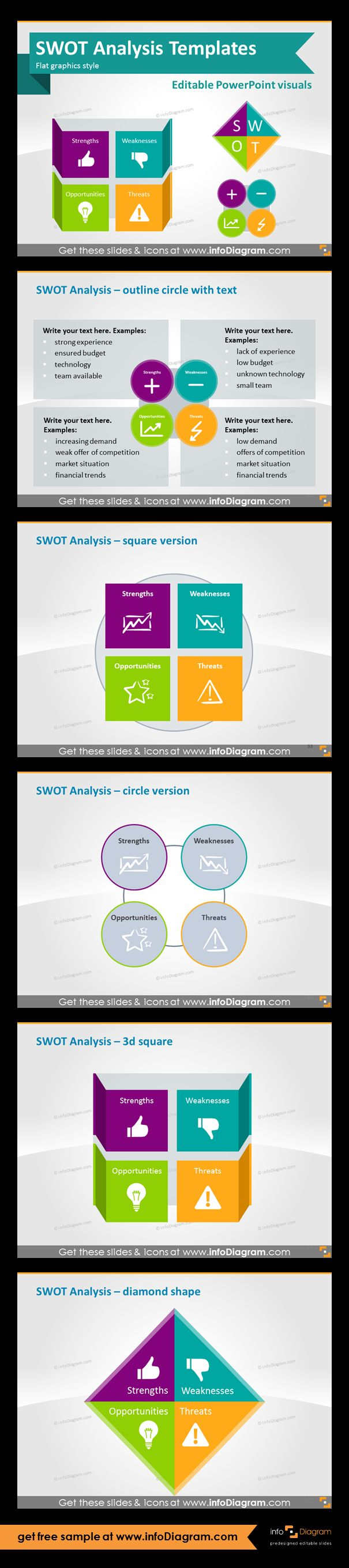 SWOT analysis template diagrams. Square, circle, 3d asquare and diamond version examples. Unique editable icons representing Strengths, Weaknesses, Opportunities, Threats. Fully editable shapes in PowerPoint (color, filling, size - thanks to vector format).