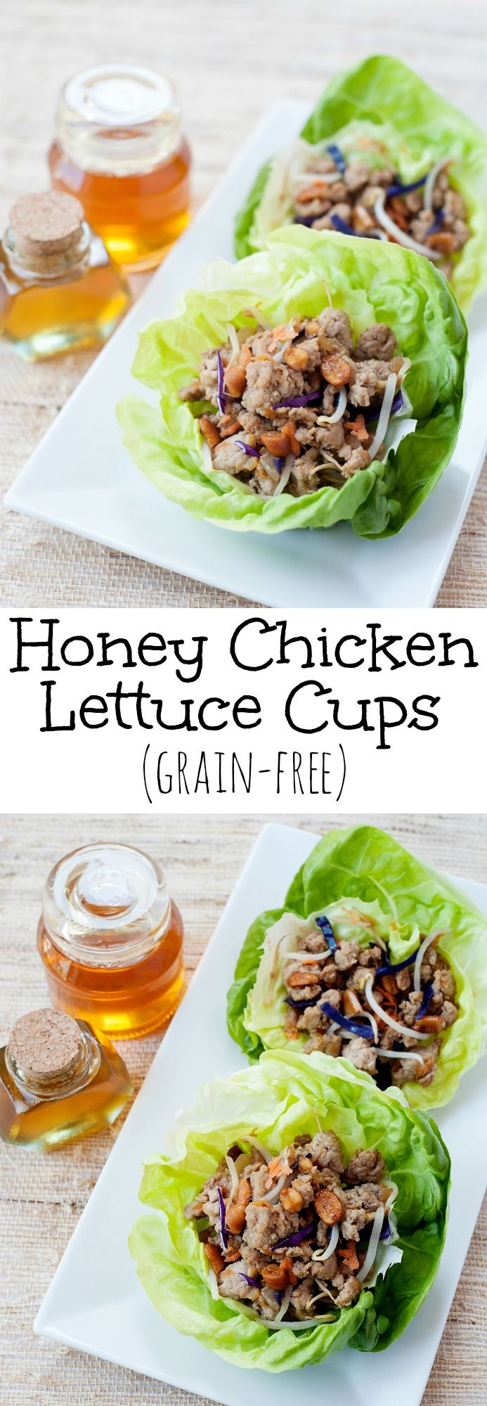 Honey Chicken Lettuce Cups: Easy skillet recipe for Asian style lettuce wraps. Better than PF Changs. ;)