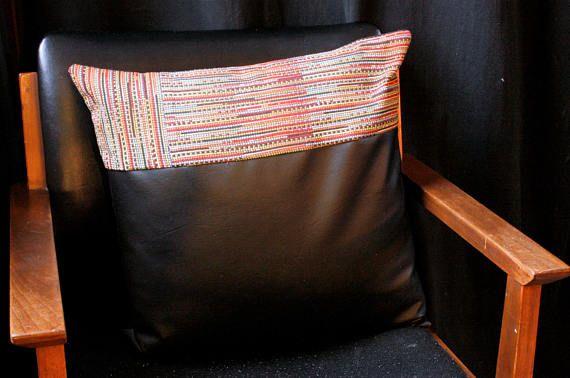 bohemian boho pillow cover faux leather vegan leather