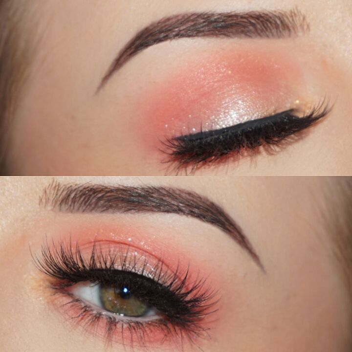 @lustrelux inspired Peach Makeup  @anastasiabeverlyhills Brow Powder Duo in Ebony @makeuprevolution Colour Chaos Palette and Pro Illuminate @kikomilano Infinity Sparkle Eyeshadow in 400 and Precision Eyeliner @eylureofficial 157 Lashes by makeupwales