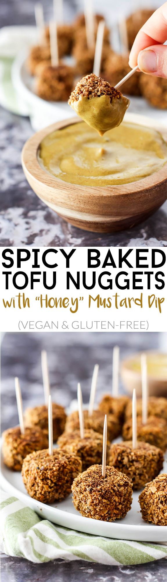 "Crispy, bite-sized & perfectly spicy, these Baked Tofu Nuggets with ""Honey"" Mustard Dip are your new favorite finger food or appetizer! Vegan & gluten-free."