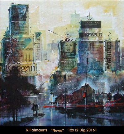 Original multimedium painting on canevas by Roland Pamaerts #Palmaerts #art #figurativeart #CanadianArt #originalartwork #mixtmedia #quebecartist #canadianartist #cityscene #news #contemporaryart #fineart #balcondart #multiartltee