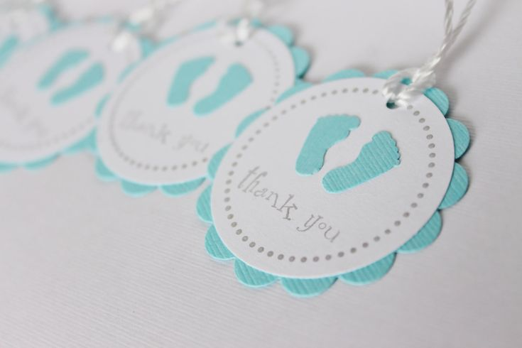 Baby Shower Favor Tags - Baby Feet - Thank You Tags - BLUE - Set of 12 tags - Handmade