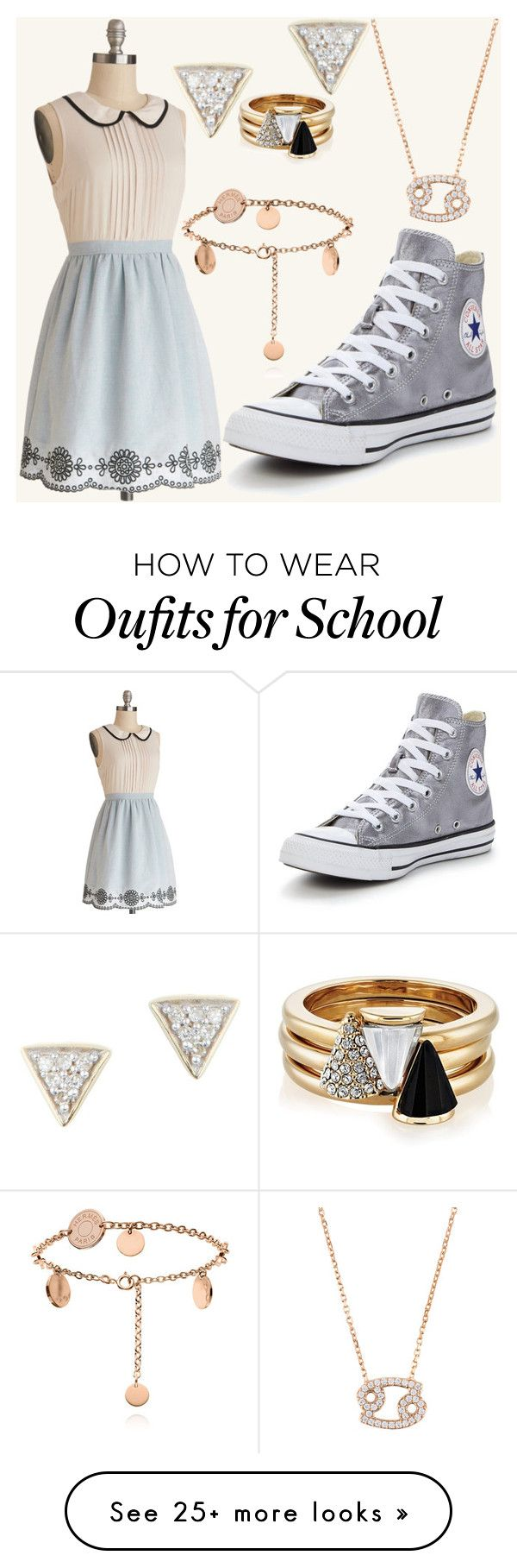 """""""Preppy School Girl"""" by mal-flower46 on Polyvore featuring Converse, Adina Reyter and Brixton"""