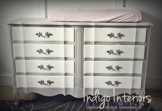 paint french provincial dresser | Gray and White French Provincial Dresser / Changing Table / Buffet ...