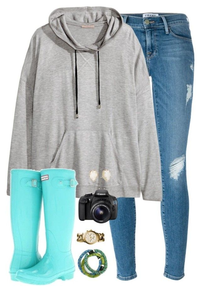 """""""❊ there is no end to amazing grace ❊"""" by kaley-ii ❤ liked on Polyvore featuring moda, Frame Denim, H&M, Hunter, Michael Kors, Eos e Kendra Scott"""