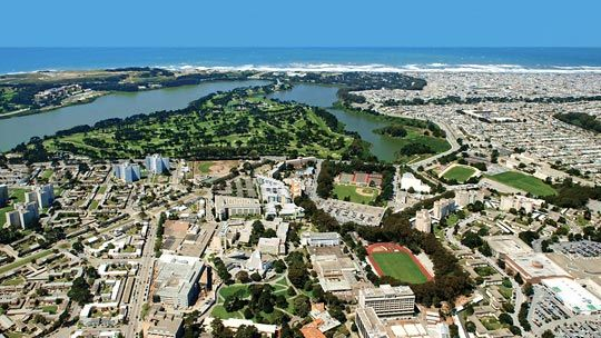 Birds-eye view of SF State (San Francisco State University) campus and the Pacific Ocean in San Francisco, California
