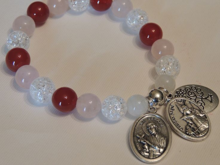St Gerard, Guardian Angel, Tree of Life Charm Bracelet, Fertility Gemstone Bracelet