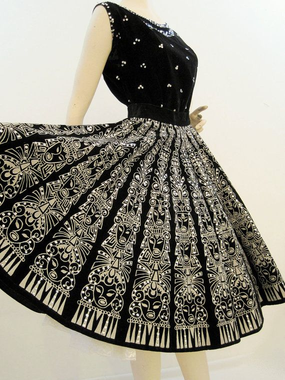 Mexican Skirt Set Vintage 50s Black Velvet and by voguevintage