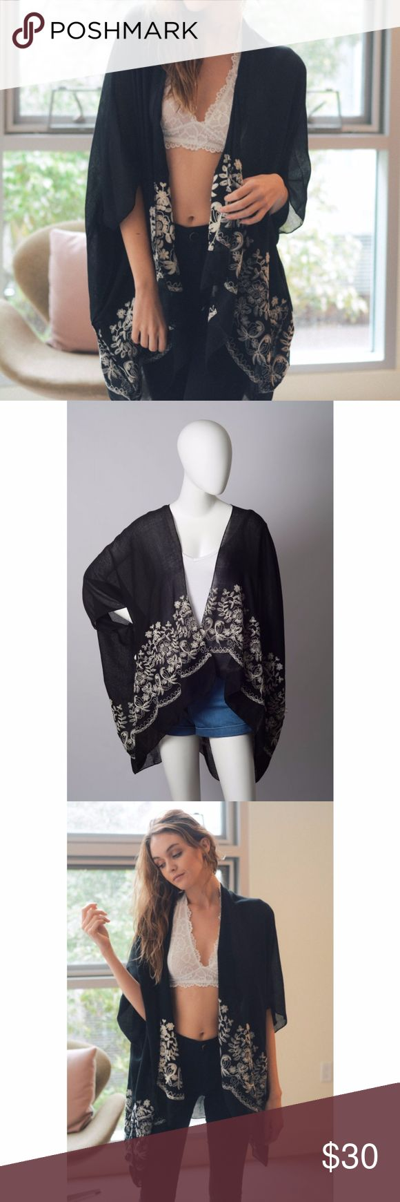"""NWT Floral Embroidered Festival Bohemian Kimono Beautiful flowy and light kimono in black with white flower embroidery. Goes great over shorts and a tank or bralette, or as a cover up at the beach!  Perfect for hot days when you need something to cover the shoulders.  35% Viscose 65% Polyester Dimension 43""""x28"""" Color: Black  tags: festival ready / bohemian / edgy / sexy / gypsy / cardigan / wrap / cover up Accessories Scarves & Wraps"""