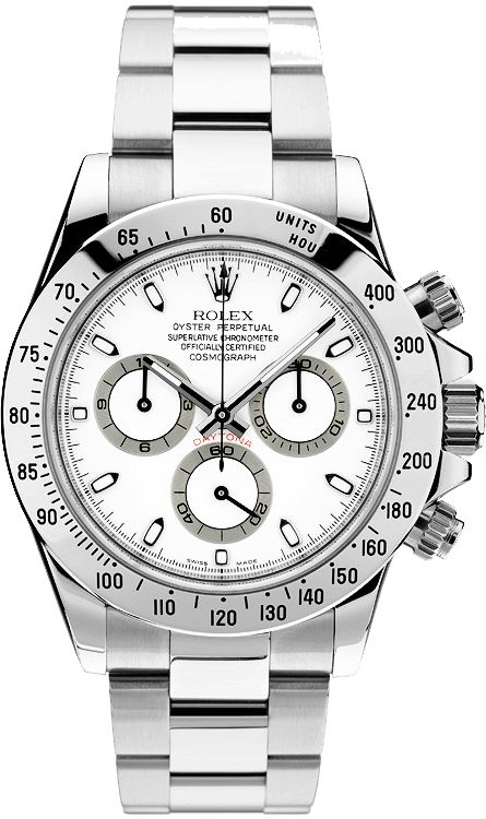 Rolex Daytona Cosmograph Stainless Steel with White Dial.