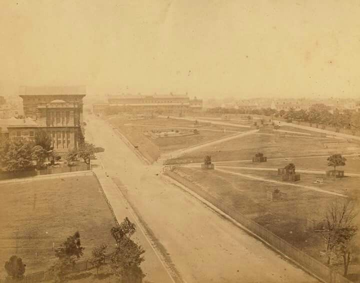 Australian Museum on College Street and Hyde Park in the years between 1867-80.By photographer J. Degotardi.Taken from St.Mary's Cathedral.The building in the background in Liverpool St was known as Lyons Terrace,built 1840,the first three storied flats in Sydney. State Library of NSW.