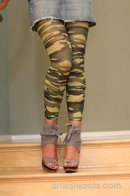 Celeste Stein Green and Brown Camo Print Leggings / Footless Tights from Artisan Socks www.artisansocks.com