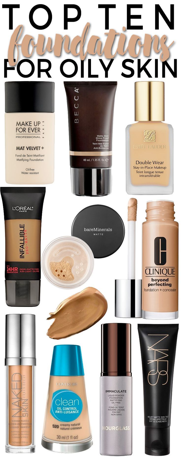 Top 10 Foundations for Oily Skin. Pinterest: /tugbabulut98/ Where you can stalk me, Instagram: tugba_bulut Beauty & Personal Care : http://amzn.to/2irNRWU