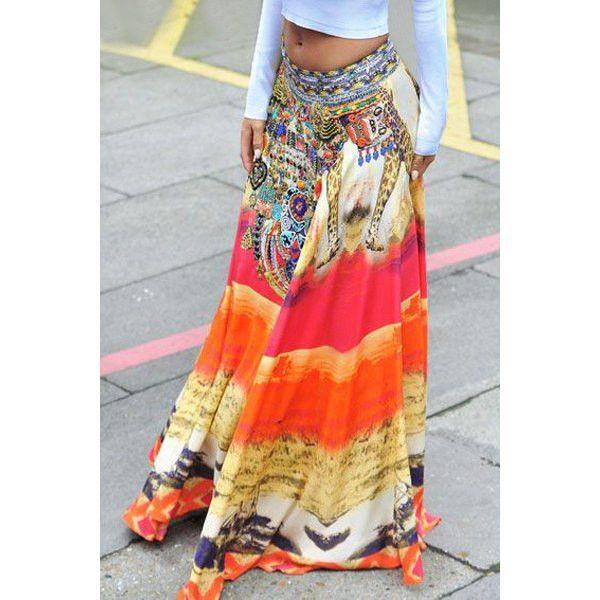 Bohemian Style Mid-Waisted Printed Skirt