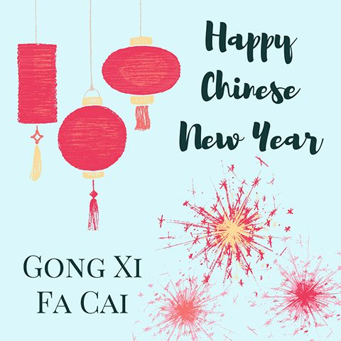 Easy DIY Happy Chinese New Year / Gong Xi Fa Cai social media greeting template with lanterns and fireworks. Created by ArtnerDluxe in Canva. Customize your own version @ https://www.canva.com/artnerdluxe. Art elements © ArtnerDluxe www.artnerdluxe.com #canva #graphicdesign chinesenewyear #cny #template