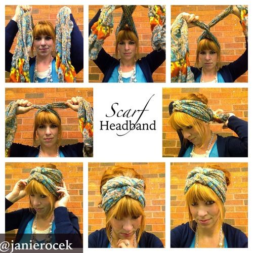 Simple way to tie a scarf into a headband with a messy bun.