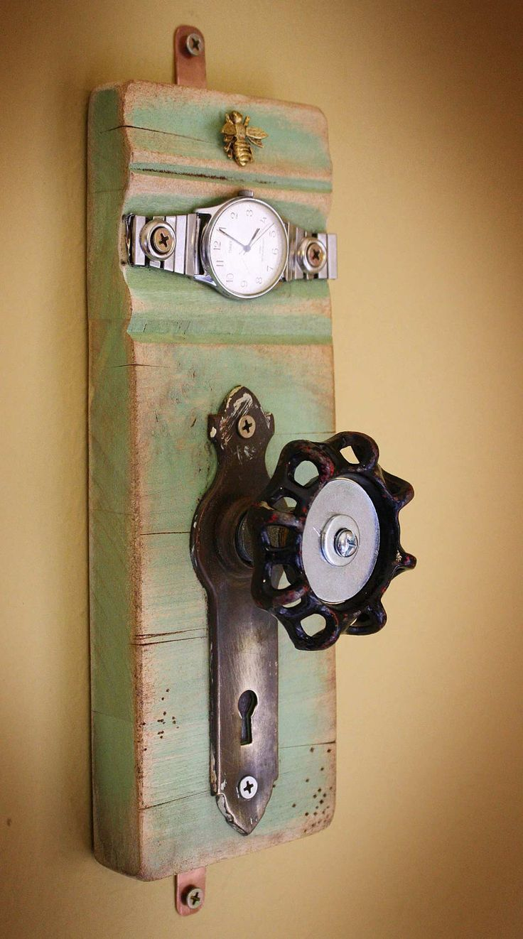 Reserved Item....Coat Rack Garden Faucet Handle Door Plate and Wrist Watch Face Band Repurposed Upcycled Recycled Baseboard Distressed No. 9