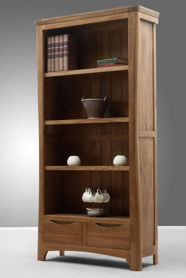 Orrick Rustic Solid Oak Tall Bookcase Part 93