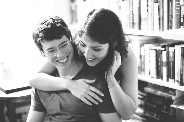 At Home Bookworm Engagement Session in Jersey City | Images by Brushfire Photography | Via Modernly Wed | 05