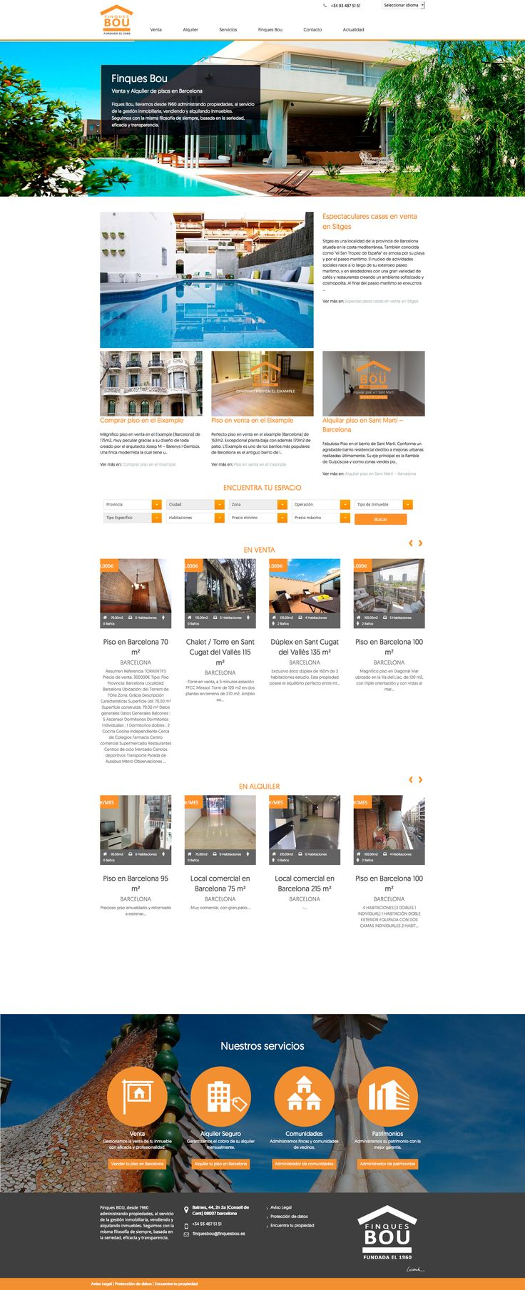 Nuevo diseño para la home de Finques Bou, inmobiliaria de Barcelona - #home #finquesbou #web #design #laende #barcelona