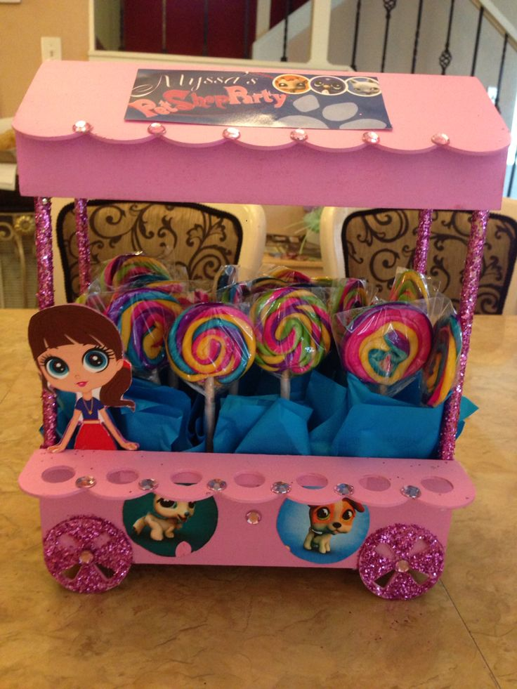 Littlest pet shop candy table arrangement. Birthday decoration