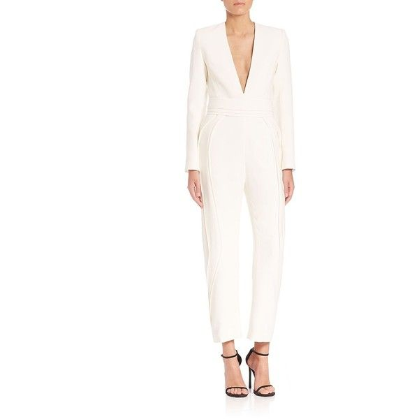 Brandon Maxwell Deep-V Jumpsuit ($2,750) ❤ liked on Polyvore featuring jumpsuits, apparel & accessories, white, deep v neck jumpsuit, long sleeve jump suit, white jump suit, long sleeve jumpsuit and white jumpsuit