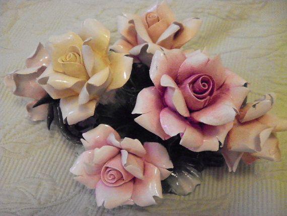 antique Capodimonte  flower basket by rosesofyesteryear on Etsy