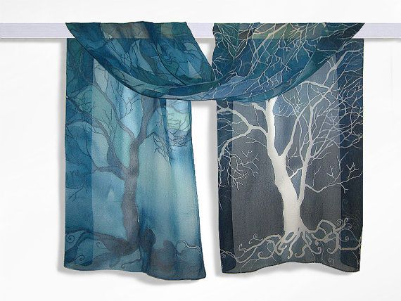 Long silk scarf ' Trees in blue ' hand painted scarves by MinkuLUL, $65.00